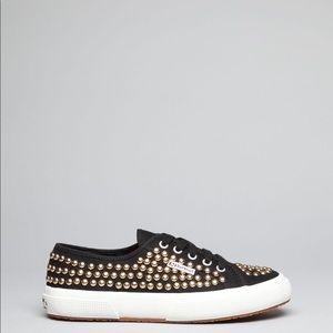 Superga Shoes - Superga Studded  Matallic Platform Slip On